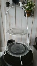 HOME KONTOR Etagere 46x30cm Glas Teller Landhaus weiß Metall vintage Deko Neu