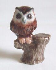 * Handmade Miniature Animal Ceramic Owl on Timber Figurine *
