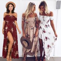 Womens Boho Off Shoulder Floral Maxi Summer Holiday Beach Side Split Party Dress