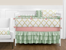 Sweet Jojo Lattice Gold White Coral and Mint Newborn Girl Crib Baby Bedding Set