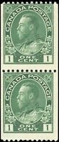Mint NG Canada 1915-24 Pair 1c Coil F Scott #131 King George V Admiral Stamps
