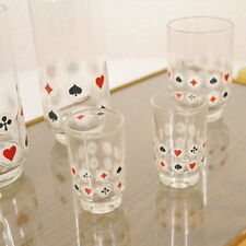 6 Ruhrglas Casino Trinkgläser mit Spielkarten Dekor auf verglastem Tablett 50's
