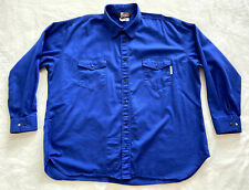 Oil & Gas Safety Supply Fire Zero Shirt Mens 4Xl Blue Snap Jacket Fire Resistant