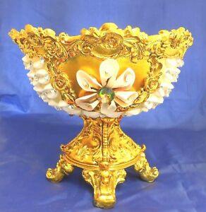 Pedestal ceramic & resin seashell vase /pottery /gold color / Home decorative