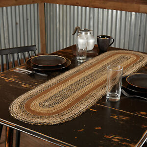 "VHC Brands Kettle Grove Primitive Tabletop Jute Runner Black Brown Tan 13x48"""