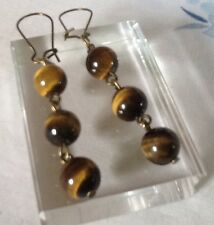 Tigers Eye Dangle Earrings Round Semi Precious Gemstone Brown Marbled Beads NEW
