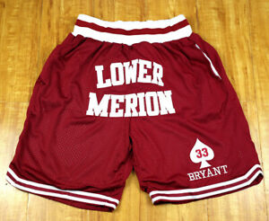 Kobe Bryant #33 Lower Merion Basketball Shorts Stitched Streetball Shorts  red