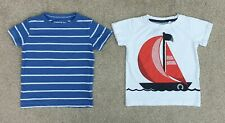 NEXT Nautical T Shirts X2 Sailing Boat Stripe Size 12-18 Months Excellent Cond