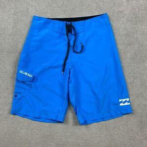 Billa Bong Men's Swim Trunks Shorts Size 32 100% Polyester Blue Embroidered