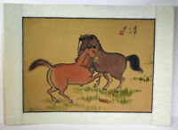 """15"""" Antique Chinese Asian Signed Watercolor on Silk Playful Brown Horses"""