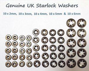 Starlock Washers Push Clamp Grab Star Nut Fastener Clips  10X2,3,4,5&6mm50PCE