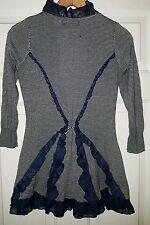 Guinevere ANTHROPOLOGIE striped cardigan lace ruffle trim XS Blue white striped