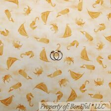 BonEful Fabric Cotton Quilt Yellow Gold Sail Boat Ship Crab Tonal Calico Scrap