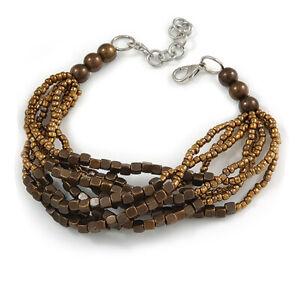 Glass Bead Multistrand Bracelet in Bronze/ Brown/ 18cm L/ 4cm Ext/ Medium