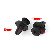50 Pcs Car Auto SUV Bumper Fender 6mm Hole Black Plastic Rivets Fasteners Clips