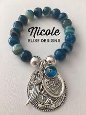Blue stripe agate, St Christopher, Guardian Angel, wing, crystal cross Evil Eye