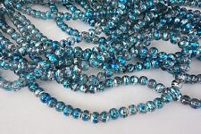 50 Blue/Blue/Silver 6mm Glass Beads #g3558 Combine Post-See Listing