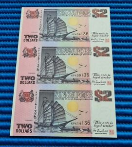 Uncut Sheet 3X Singapore Ship Series $2 Commemorative Note KP 404136 (NO FOLDER)