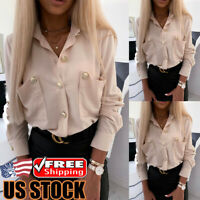 Women Long Sleeve Button Down T Shirt Ladies V Neck Loose Casual OL Blouse Tops