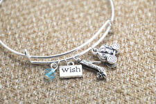 "Cinderella inspired bracelet Wish ""glass"" slipper pumpkin carriage charm bangle"