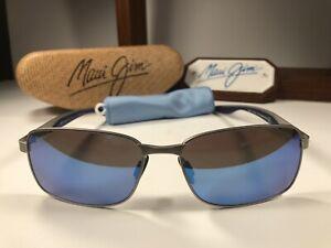 Maui Jim Shoal MJ 797-17M Matte Silver Sunglasses W/Blue Hawaii Polarized Lens