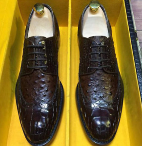 Mens Hand Made Real Leather Crocodile Pattern Formal Dress Brogue Shoes Carved