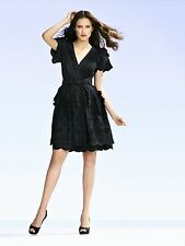 COLLETTE DINNIGAN stunning black embroidered  cotton ruffle dress size Small