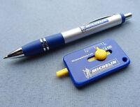 Kuli Kugelschreiber + Reifenprofilmesser Profiltiefenmesser 1-20mm blau / gelb