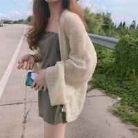 Women's Casual Summer Sunscreen Coat Cardigan Long Sleeve Knitting Blouse Tops