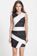 NWT! $338 BCBGMAXAZRIA 'Dalia' Stripe Lace Sheath Dress OfWhiteBlack [SZ 6] #N55