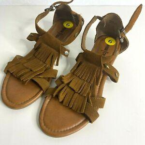 MINNETONKA Sandals 9 Monaco Brown Studded Suede Leather Fringe Wedge Strap Zip