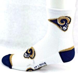 St. Louis Rams Football White & Navy Flex Top Deuce Quarter Socks
