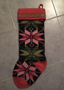 Fair Isle Knit Christmas Stocking RED/GREEN/BLACK Geometric Poinsettia/Flower