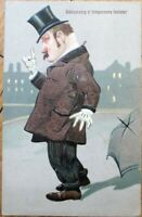 Drunk Man 'Rehearsing a Temperance Lecture!' 1910 Embossed, Color Litho Postcard