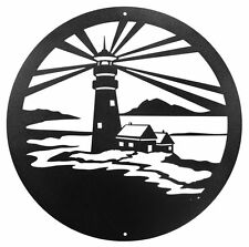 """Swen Products Lighthouse Nautical Steel 12"""" Scenic Art Wall Design"""