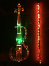 Acrylic Plexiglass Electronic Violin Seven-color LED Lights and Red Glowing Bow