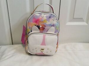 NWT Betsey Johnson Kitsch Puppy Mini Backpack Purple White Floral Faux Leather