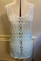 NEXT women white & green sleeveless top cotton lace round neck top UK12