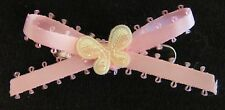 Pink with Yellow Butterfly Satin Dog Puppy Pet Hair Bow Ribbon on Alligator Clip