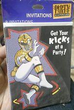 VINTAGE WHITE POWER RANGER Birthday Party Express Invitation 8 ct Hallmark Cards