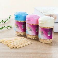 350pcs Disposable Two Heads Bamboo Wooden Toothpicks Wood Stick With Round Case