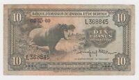 Africa Rwanda Burundi 10 Francs P2 5.10 1960 1964 aVF Hippopotamus Hippo Rare L