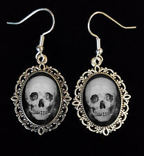Skull Optical Illusion Dancing Couple Antique Silver Drop Earrings Goth Unusual