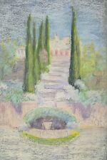 Pastel Marguerite DUBOIS Villa Jardin Cyprès Escalier Cannes 1936
