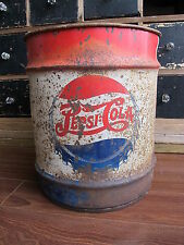 Antique Vintage Pepsi Double Dot 10 Gallon Steel Syrup Barrel, Red White & Blue
