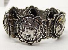 Vtg Solid Silver Egyptian Filigree Link Bracelet Story Teller Sphinx Art Deco