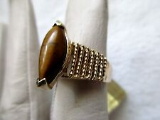 DANCRAFT RING VINTAGE STERLING W/  GENUINE TIGER EYE  SZ-6-5   GRAMS 5.4
