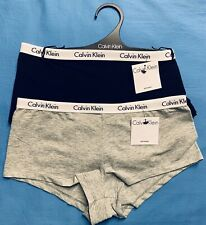 NWT Calvin Klein Boy Shorts Panty Gray + Black New With Tags 2 Pairs Small S