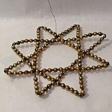Vtg Gold Star Mercury Glass Beaded Large Window Ornament Tree Topper Antique
