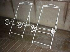 Ancienne paire de fauteuils transat chiliennes en acier plein design